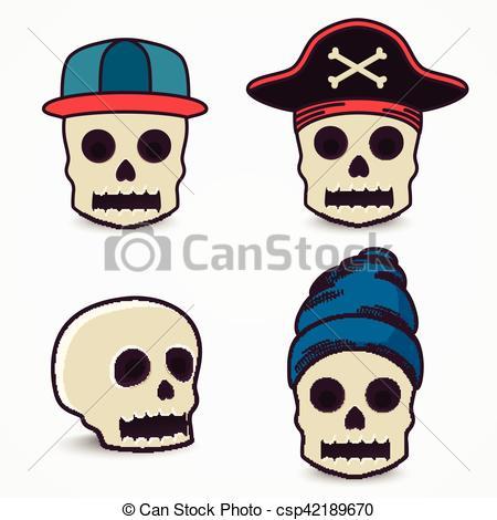 450x470 Cartoon Skull Collection In Cap, Pirate. Vectors Illustration