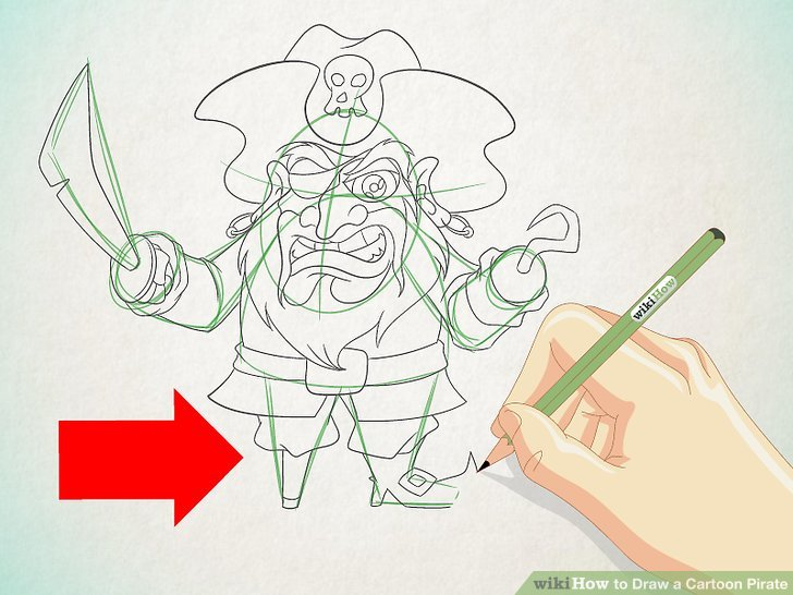 728x546 How To Draw A Cartoon Pirate 13 Steps (With Pictures)