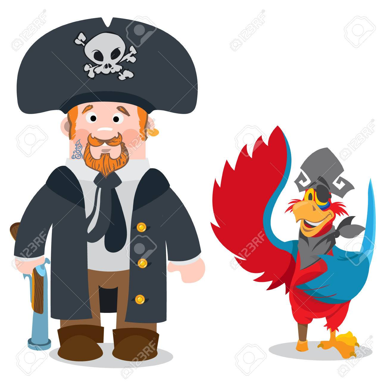 1300x1300 Pirate Captain And Parrot. Cartoon Characters Man And Bird