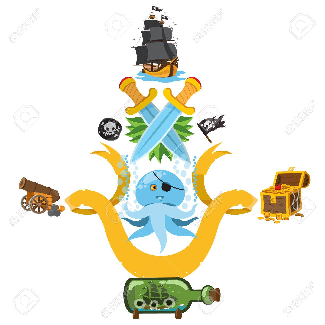 1300x1300 Set Illustrations With Pirate Attributes. Various Items Medieval