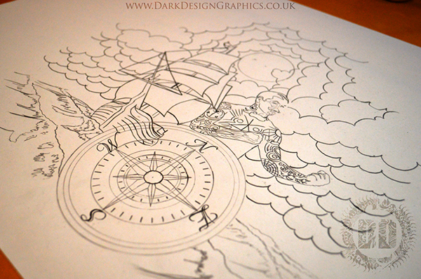 Compass Tattoo Line Drawing : Pirate compass drawing at getdrawings free for personal use