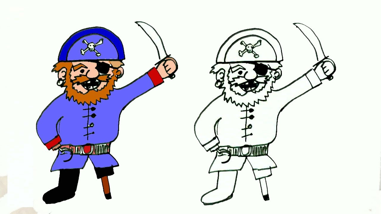 1280x720 How To Draw A Pirate In Easy Steps For Children. Beginners