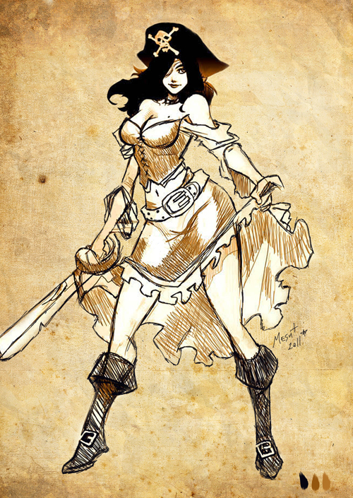 500x705 Pirate Pinup Drawings Pirate Girl Drawing Pirate Girl By