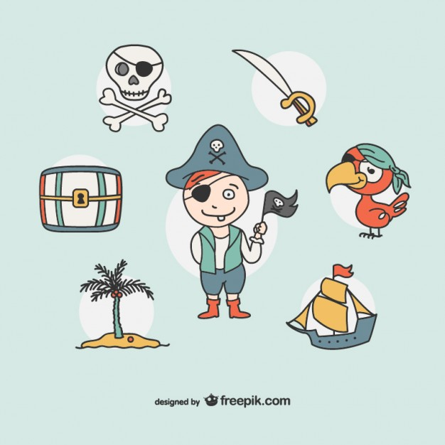 626x626 Pirate Drawing Icons Collection Vector Free Download