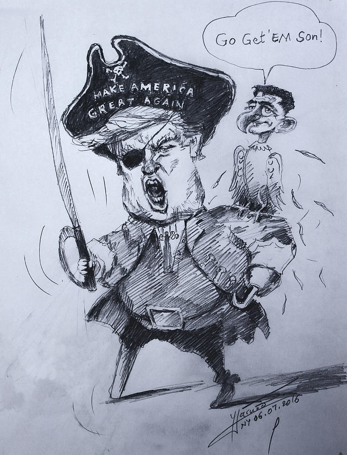 686x900 Trump, Short Fingers Pirate With Ryan, The Bird Drawing By Ylli Haruni