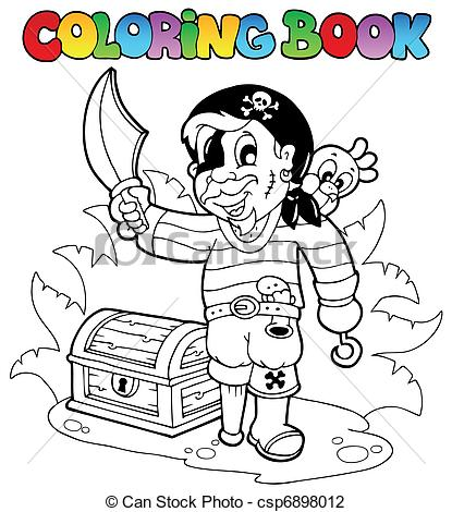 415x470 Coloring Book With Young Pirate