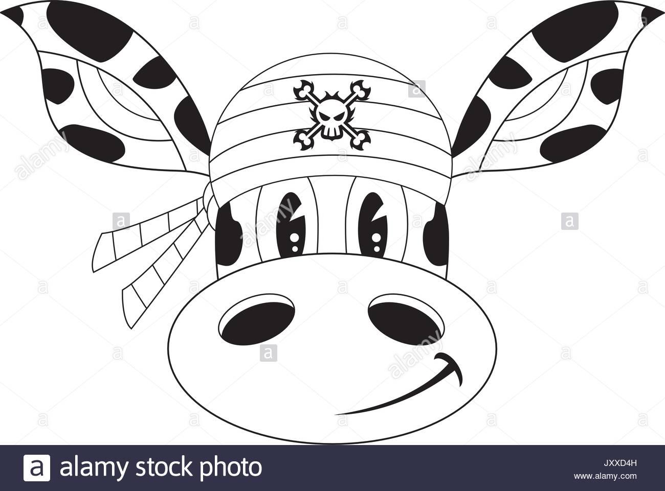 1300x961 Cute Cartoon Giraffe Pirate Crewman In Bandana Line Drawing Stock