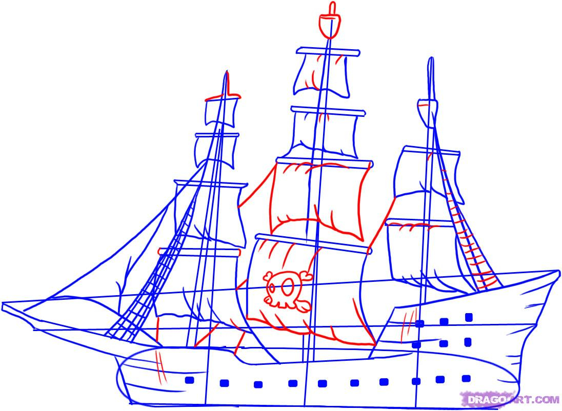 1096x802 Drawing A Pirate Ship How To Draw A Pirate Ship, Step By Step