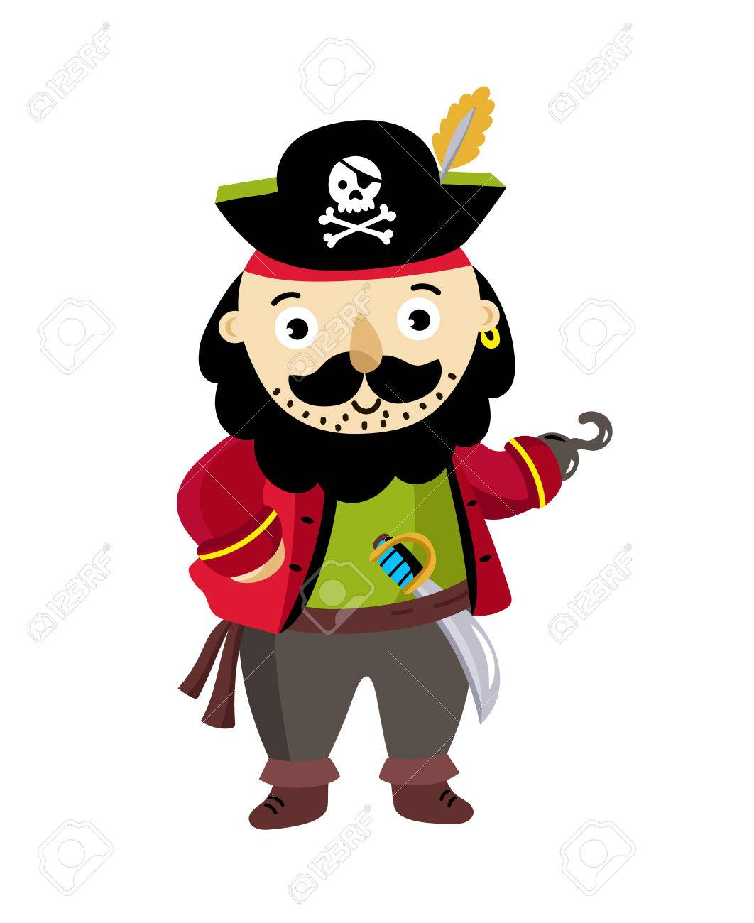 1062x1300 Pirate Man Character In Cocked Hat Icon. Children Drawing