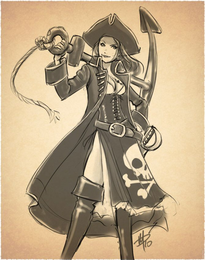 670x847 Draw Pirate Woman