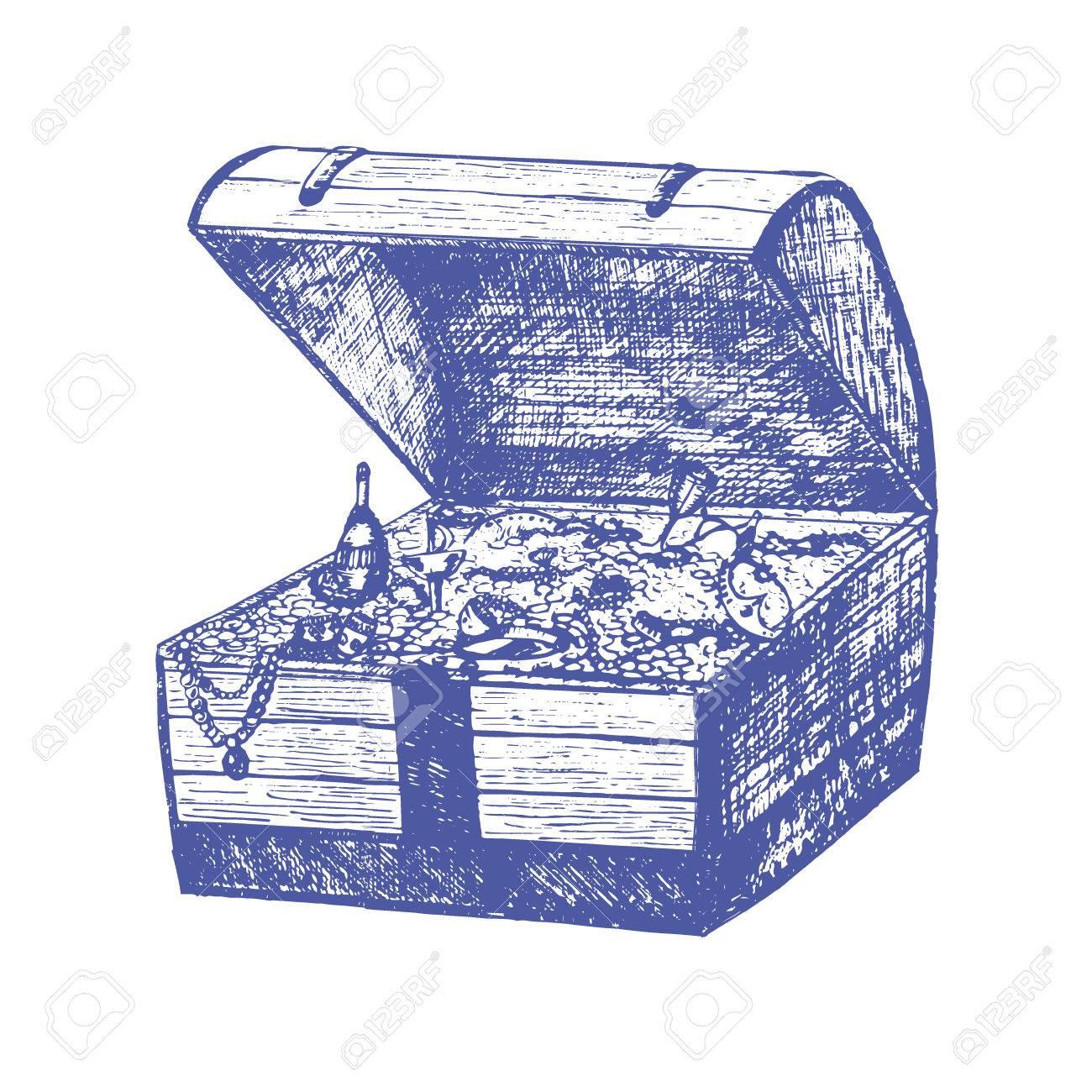 1300x1300 Open Full Pirate Treasure Chest And Coin Hand Draw Sketch. Retro