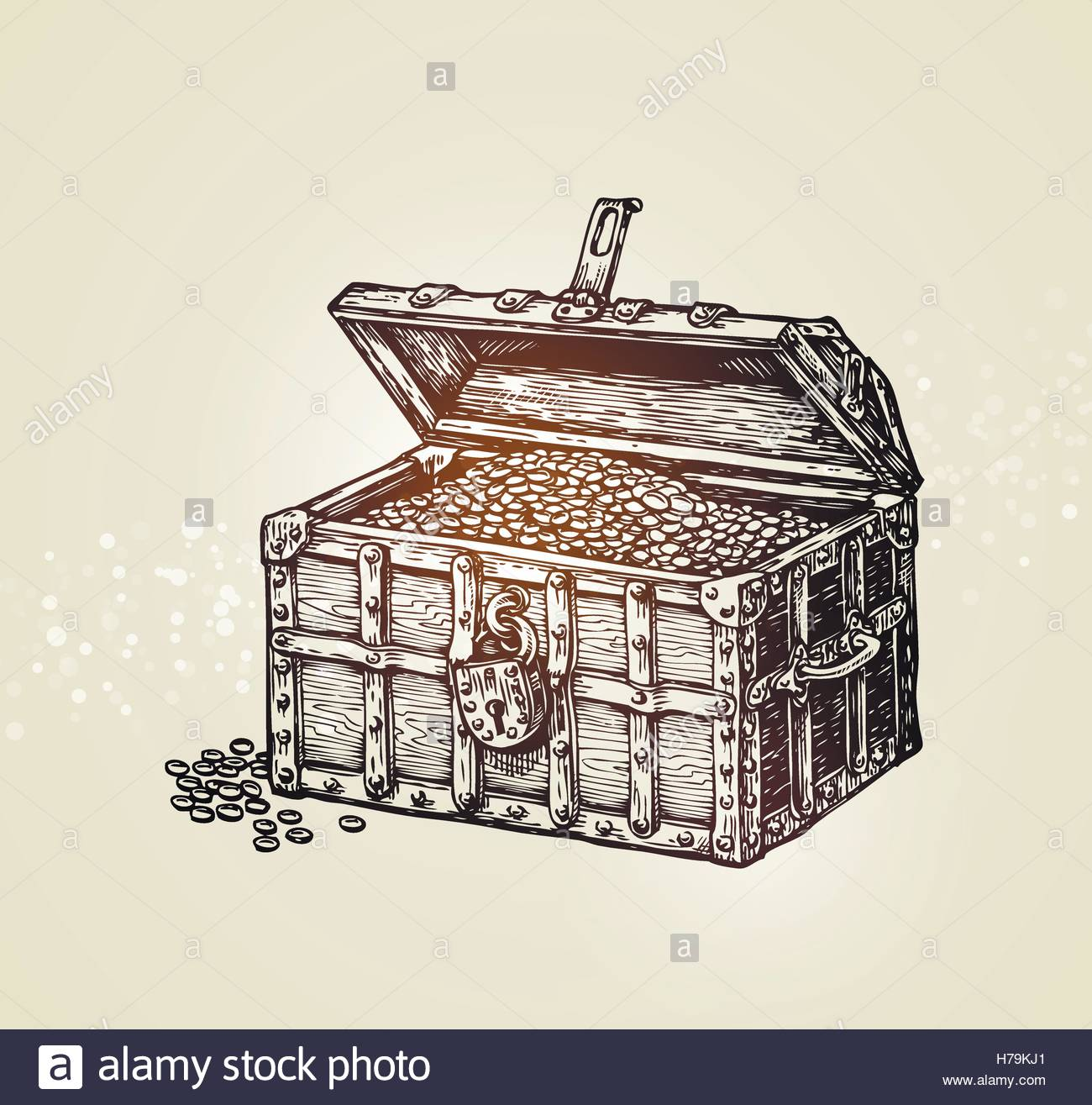 1300x1315 Pirate Treasure Chest With Golden Coins. Vector Illustration Stock