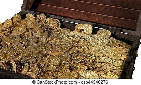 450x273 Pirate Treasure Chest. 3d Render. Pirate Treasure Chest Stock