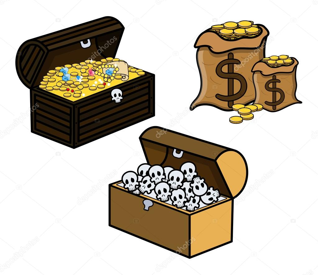 1023x885 Treasure And Skull Filled Trunks And Bag Of Coins