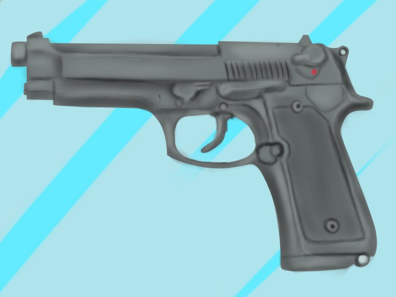 800x600 Learn How To Draw A 9mm Beretta M9 Pistol (Pistols) Step By Step