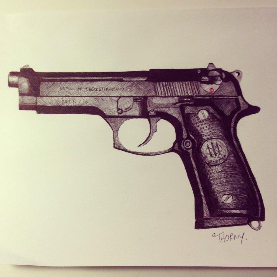 894x894 Pistol Drawing