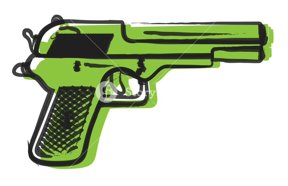1000x646 Retro Gun Drawing Royalty Free Stock Image