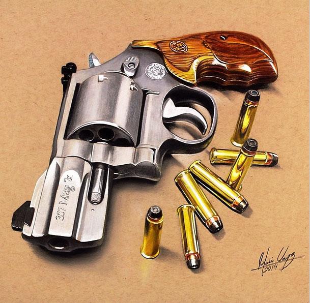 609x596 Color Pencil Drawing Pistol By Moises Vasquez