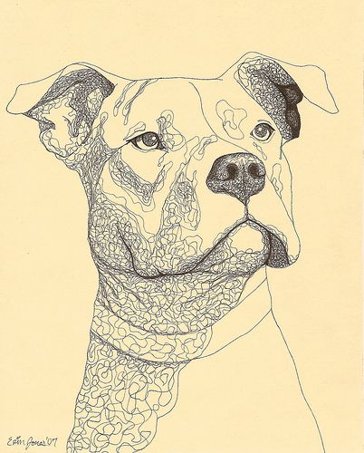 402x500 Pit Bull Ink Drawing Dog And Dogs
