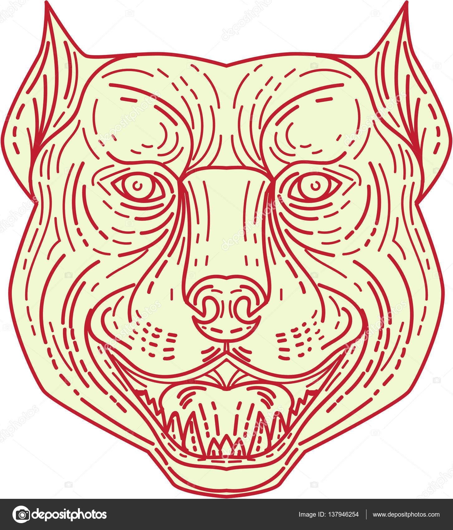 1453x1700 Pitbull Dog Mongrel Head Mono Line Stock Vector Patrimonio