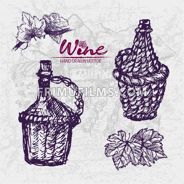 600x600 Digital Color Vector Detailed Line Art Wine Old Ancient Braided