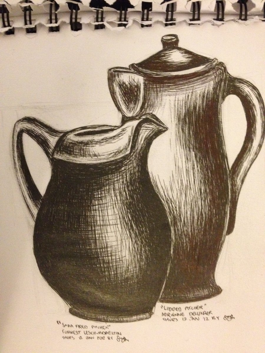 900x1200 Pitcher And Jug Drawing In Black Pen By Ashlin422
