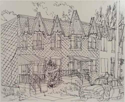 500x407 234 Henry Koerner Drawing Row Houses Pittsburgh