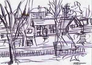 300x211 Pittsburgh Scene By Ruth Freeman Ink Drawing 8 X 11 Ebay