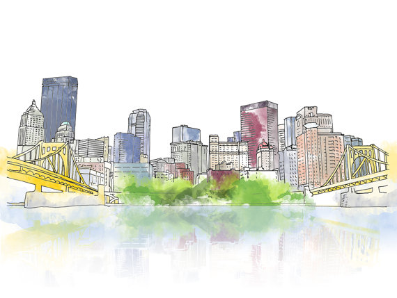 570x429 Pittsburgh Downtown Ink And Watercolor Drawing Pennsylvania