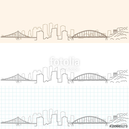 500x499 Pittsburgh Hand Drawn Skyline Stock Image And Royalty Free Vector