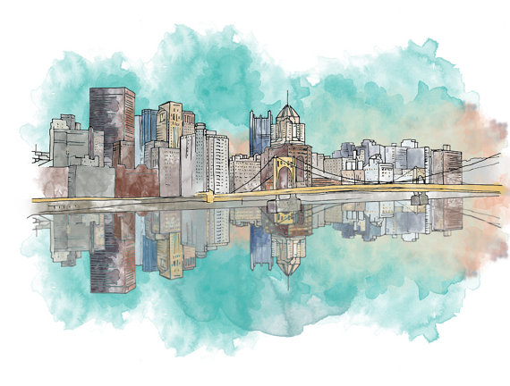 570x432 Pittsburgh Sunset Ink And Watercolor Drawing