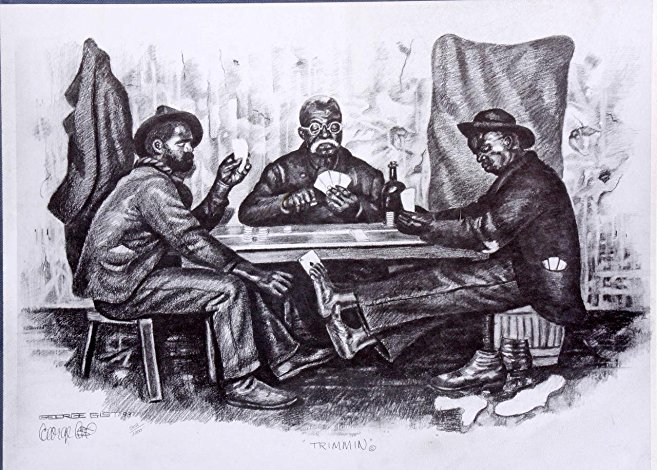 657x470 Three Guys Playing Cards Artwork Charcoal Drawing