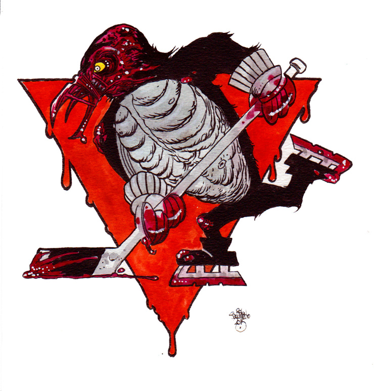 740x773 Zombie Art Sports Logos Of The Living Dead Pittsburgh Penguins