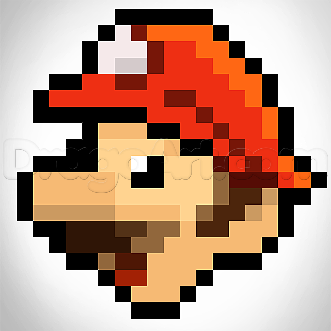 649x649 How To Draw Pixel Mario, Step By Step, Video Game Characters, Pop