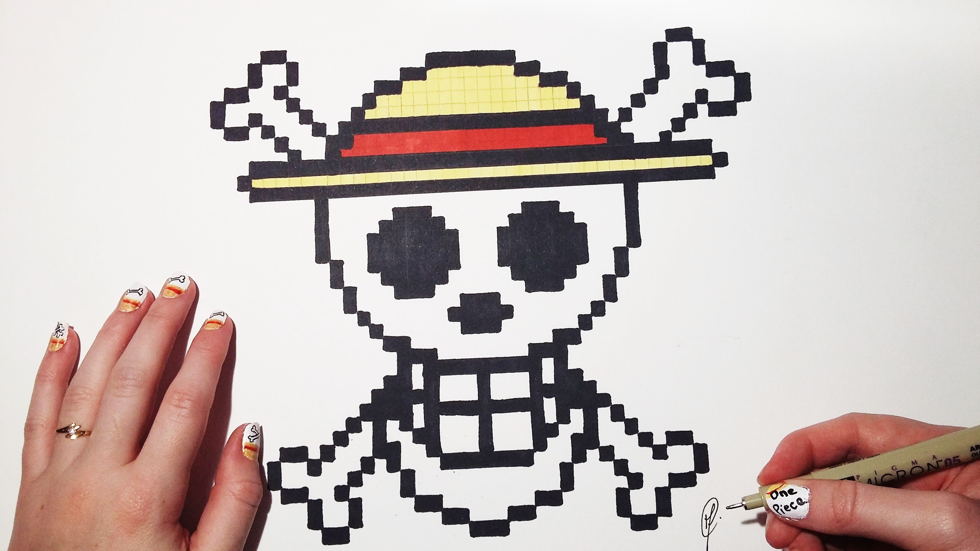 3264x1836 Draw With Pixels The Skull Logo One Piece