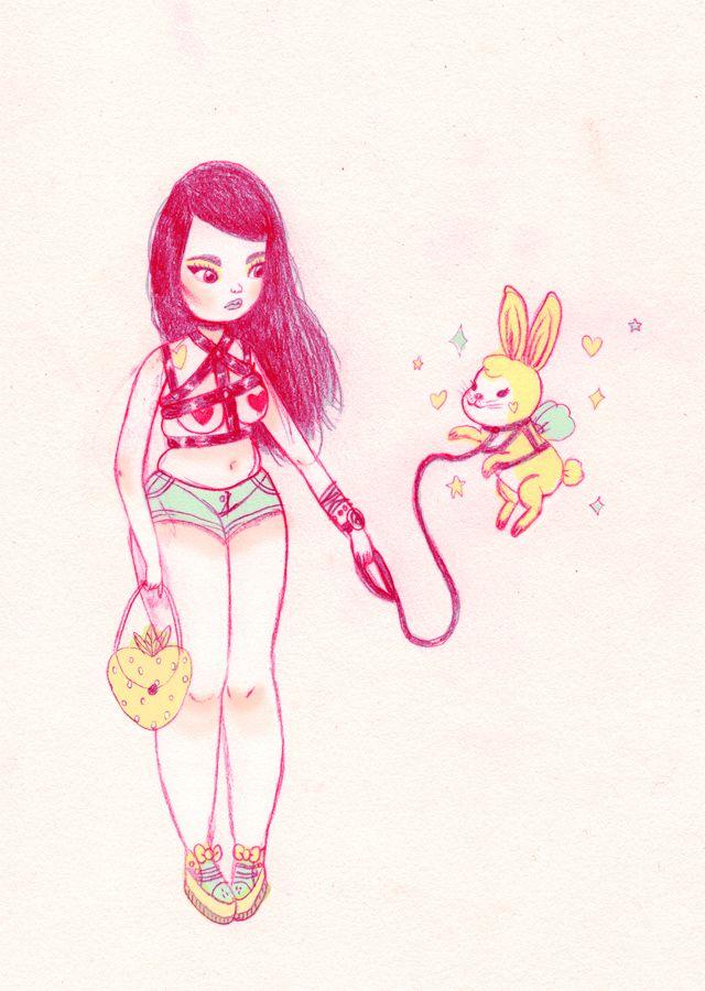 640x900 Pixie Dust Bunny Artful Art Illustrations
