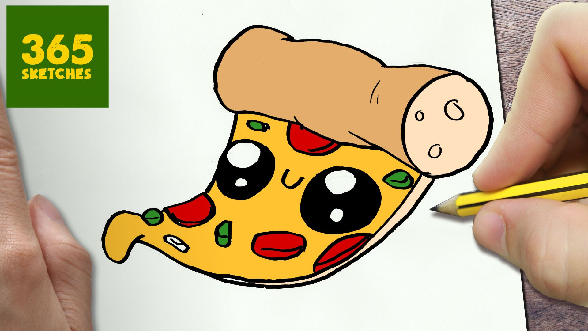 1920x1080 How To Draw A Pizza Cute, Easy Step By Step Drawing Lessons