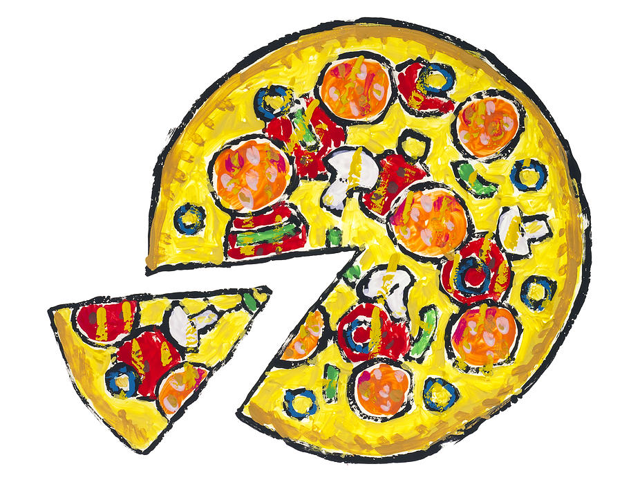 900x697 Isolated Pizza With Mushrooms Drawing By Aleksandr Volkov