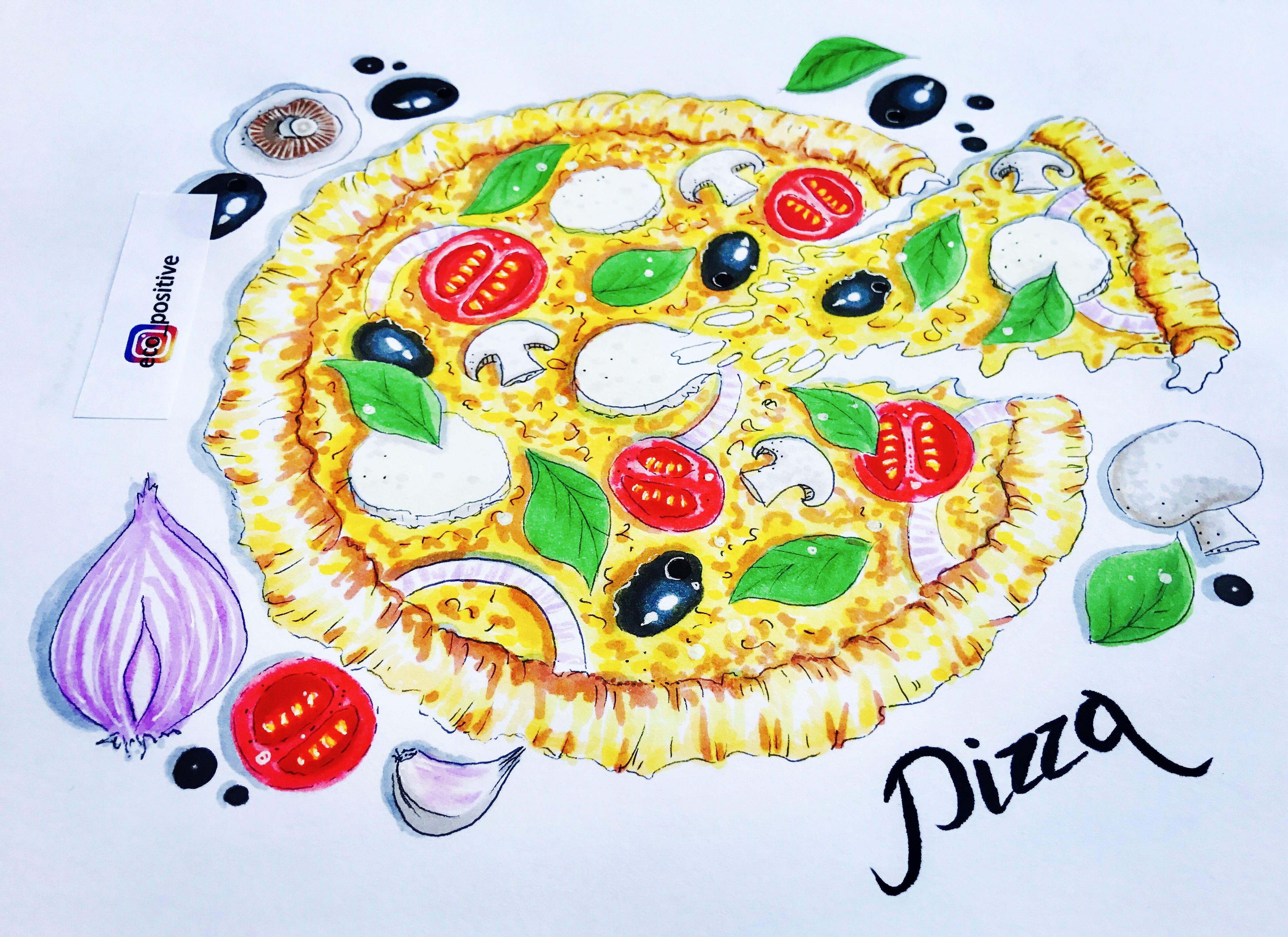 3932x2859 Pizza Illustration Drawing Logo Food Sketching Restaurant Italian