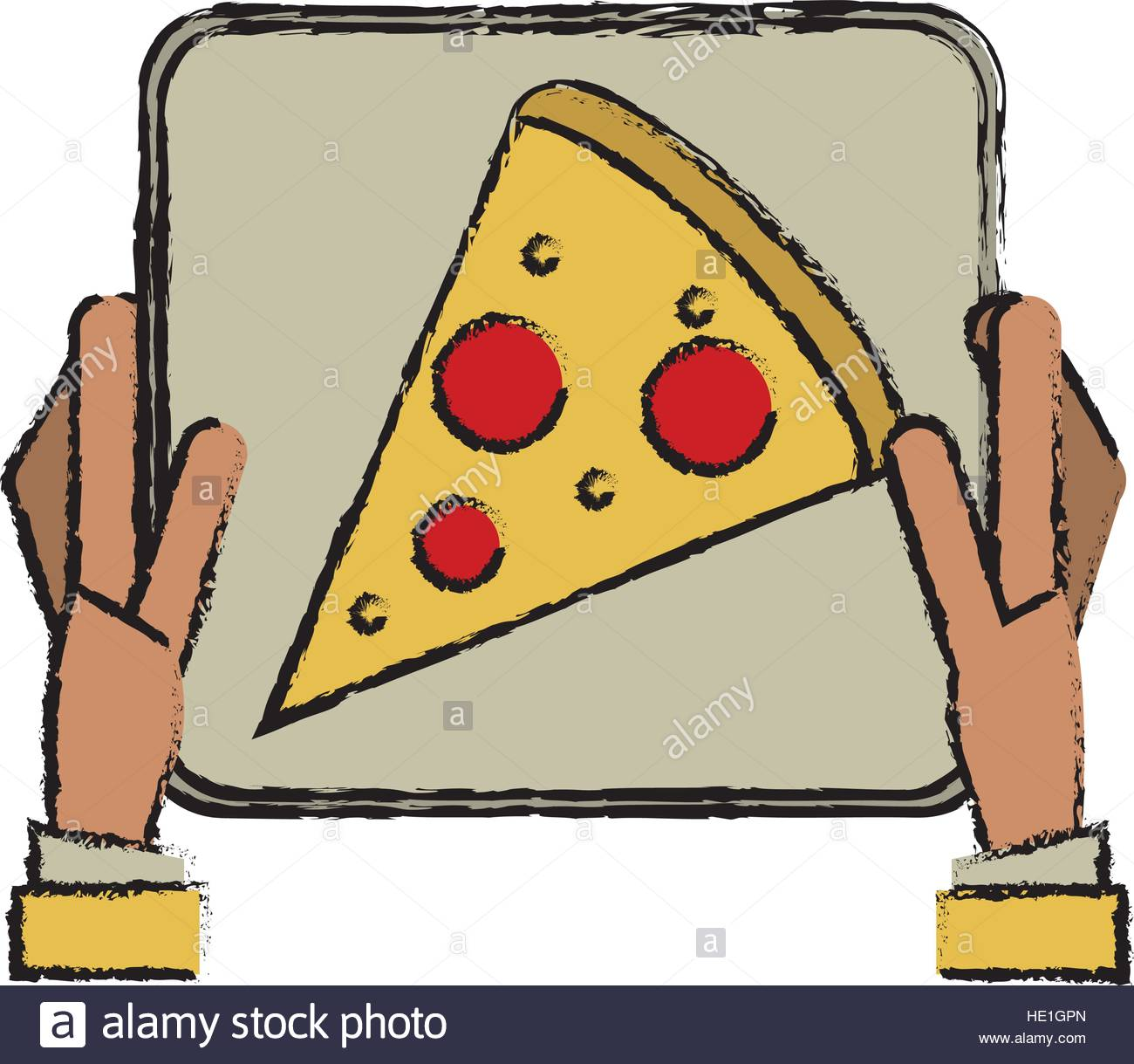 1300x1219 Hand Boy Delivery Box Pizza Drawing Stock Vector Art