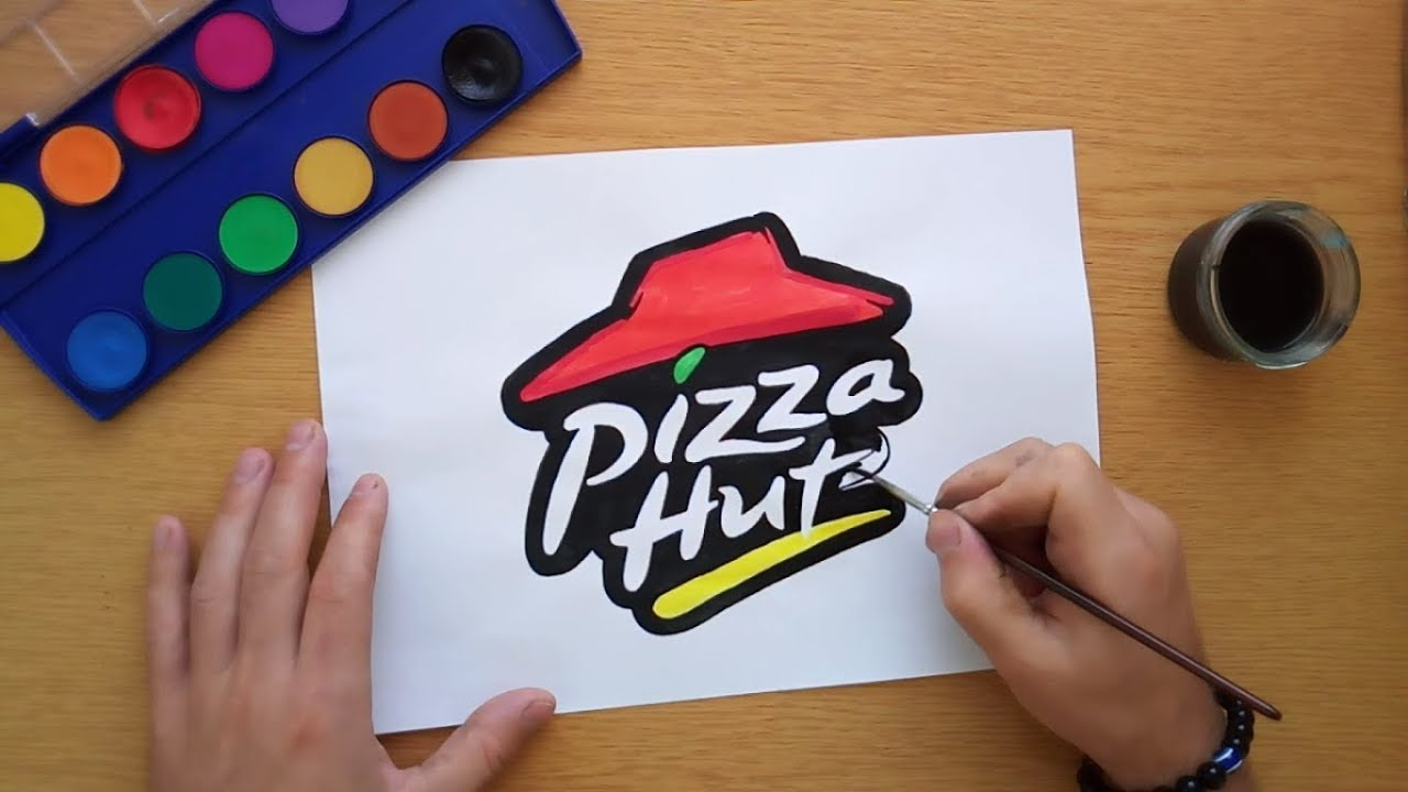 1280x720 How To Draw A Pizza Hut Logo (Logo Drawing)