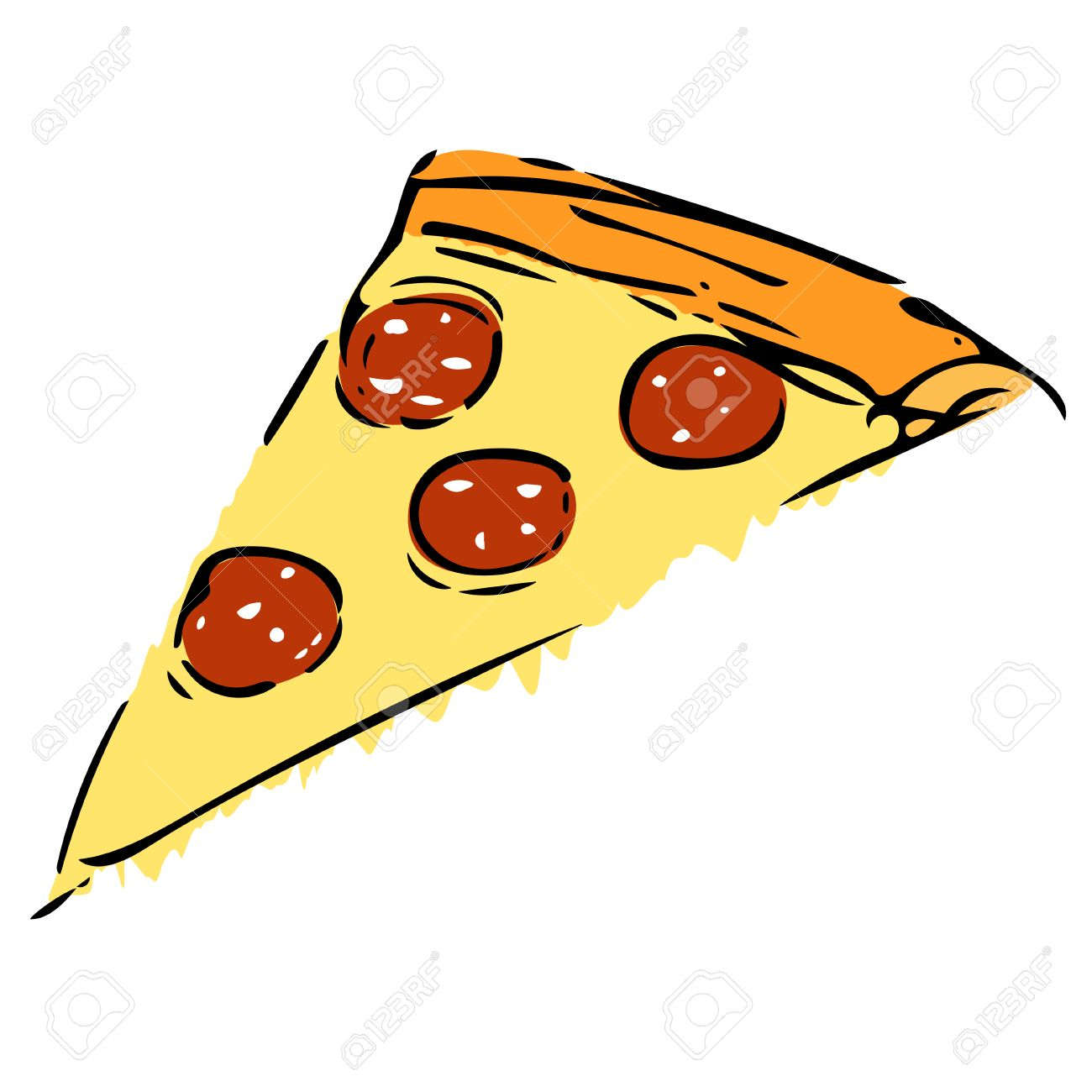 1300x1300 Elementary Vector Drawing Of Pizzas Slice With Salami Royalty Free