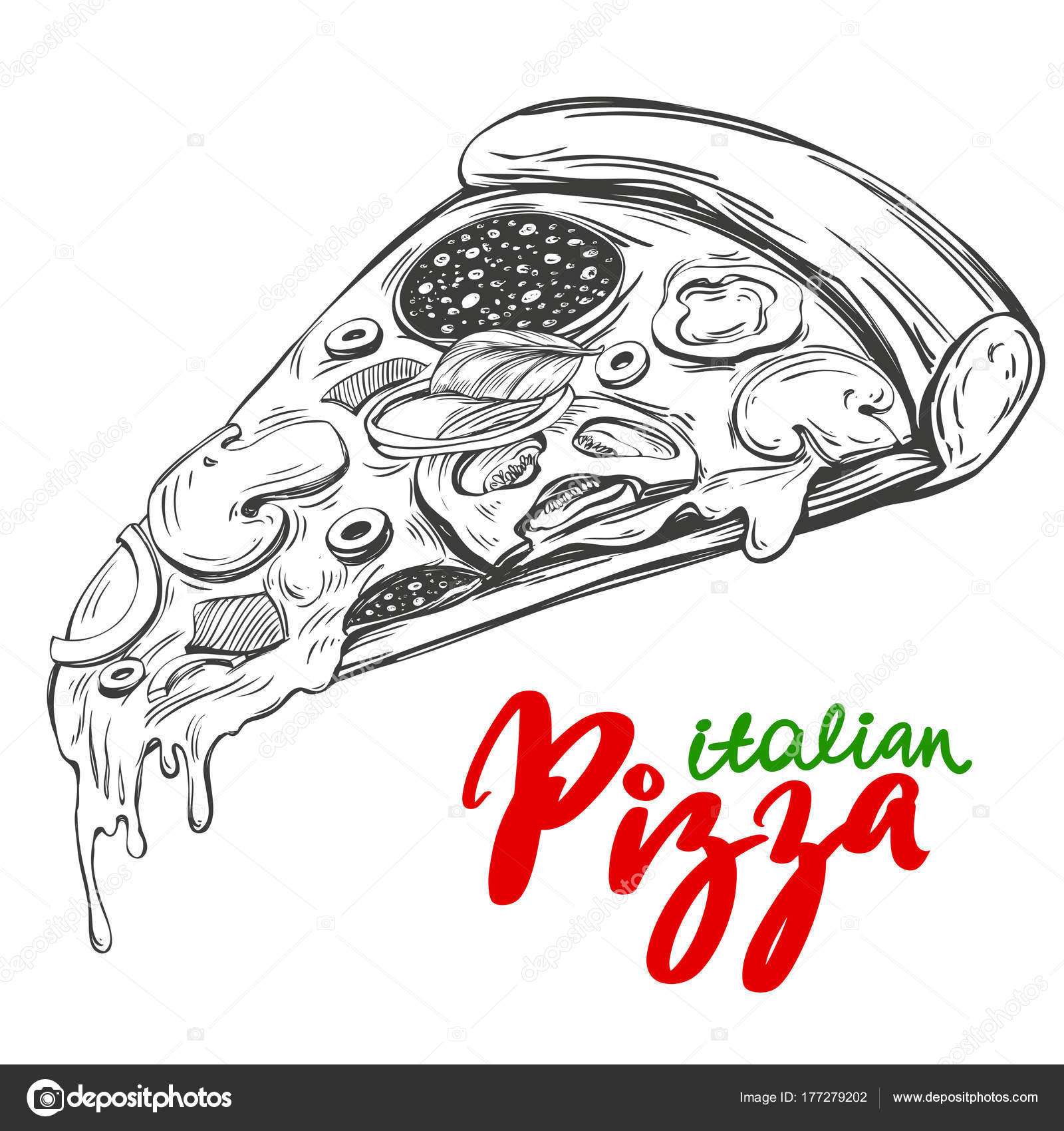 1600x1700 Italian Pizza Slice , Pizza Design Template, Logo Hand Drawn