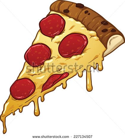 421x470 Salami Pizza Slice. Vector Clip Art Illustration With Simple