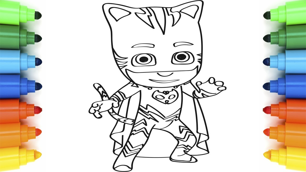 1280x720 How To Draw PJ Masks Catboy Coloring Pages For Children Art