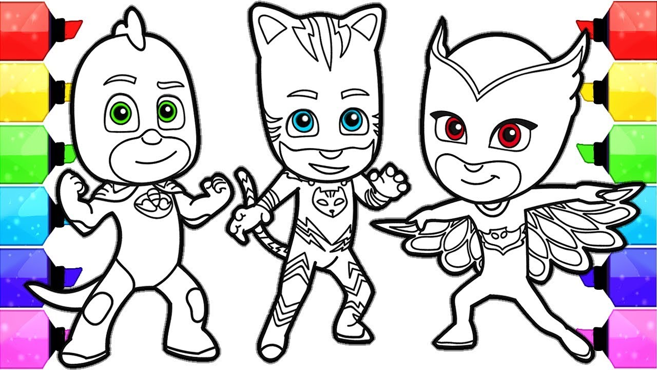 1280x720 pj masks coloring pages how to draw and color catboy gekko and