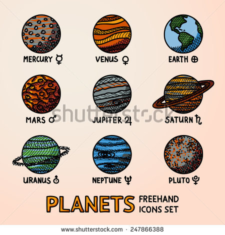 450x470 Set Of Color Hand Drawn Planet Icons With Names And Astronomical