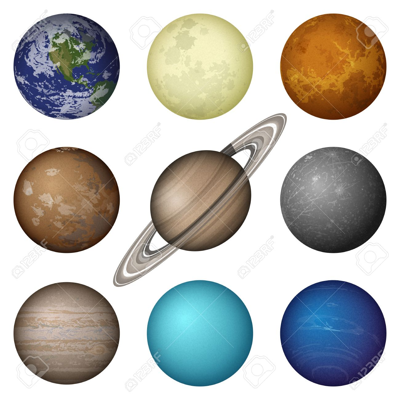 1300x1300 Space Set Of Isolated Planets Of Solar System