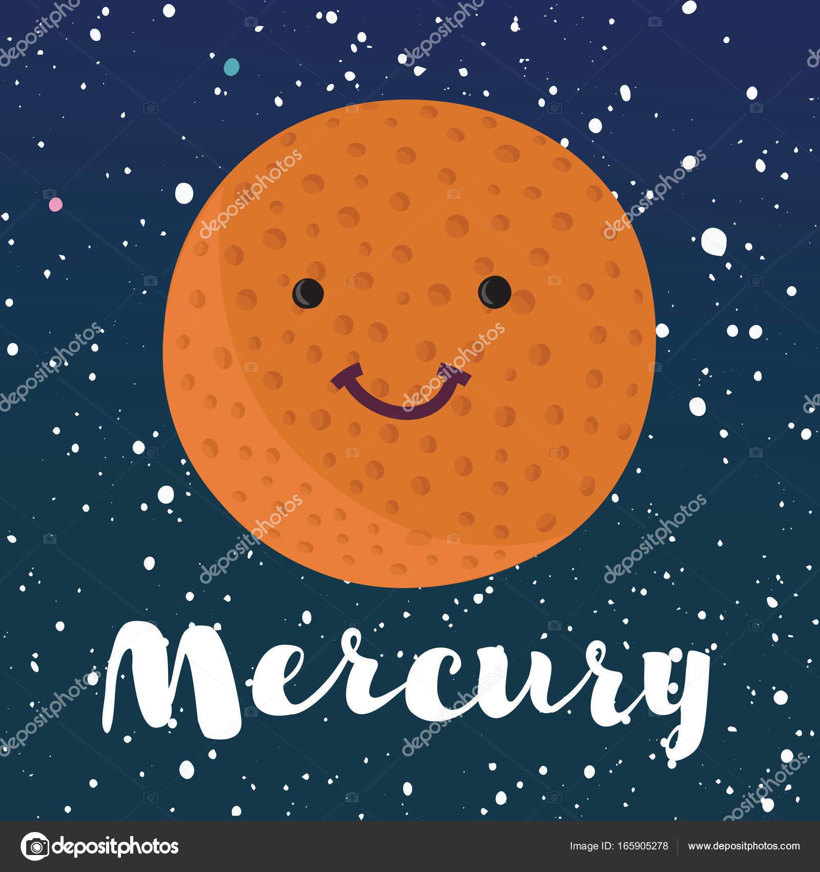 1600x1700 Vector Illustration Planet Mercury In Retro Flat Cartoon Style