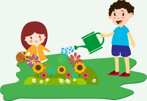 468x322 Children Planting Flowers Theme Colorful Design Style Vectors